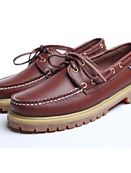 Men's Shoes Cowhide Spring Fall Comfort Boat Shoes For Casual Office & Career Light Brown