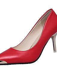cheap -Women's Heels Light Soles Spring Fall PU Casual Dress Kitten Heel Blushing Pink Ruby Black White 1in-1 3/4in