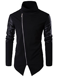cheap -Men's Daily Going out Work Simple Casual Fall Jacket,Solid Stand Long Sleeve Regular PU Cotton Patchwork