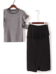 Women's Going out Street chic Fall Skirt,Check Round Neck Long Sleeve Black / Gray Polyester