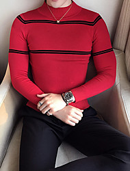 Men's Casual/Daily Short Pullover,Solid Striped Crew Neck Long Sleeves Polyester Spandex Others Spring Fall Thin Stretchy