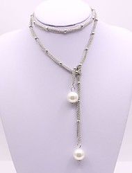 Women's Chain Necklaces Imitation Pearl Geometric Alloy Fashion Classic Jewelry For Gift Daily Evening Party Stage