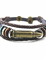 cheap -Men's Women's Layered Bracelet Bangles Wrap Bracelet Leather Bracelet - Leather, Titanium Steel, Silver Plated Geometric, Classic, Vintage Bracelet Gold / Silver For Christmas Party Halloween