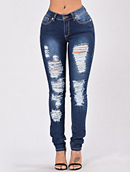 cheap -Women's Skinny Jeans Pants - Solid, Ripped High Rise