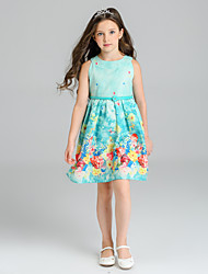 Girl's Floral Dress,Polyester Summer Sleeveless Floral Light Blue