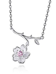 cheap -Women's Flower Personalized Fashion Collar Necklace Cubic Zirconia Sterling Silver Collar Necklace , Wedding Other Gift Daily Casual