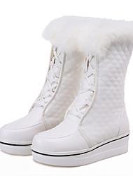 Da donna Stivaletti Stivali da neve Stivali da equitazione Stivali Finta pelle Autunno Inverno Casual Formale Footing Lacci A quadri Zeppa