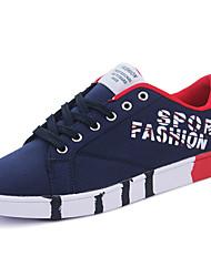 Недорогие -Для мужчин Кеды Удобная обувь Резина Весна Шнуровка На плоской подошве Белый Черный Синий Менее 2,5 см