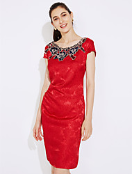 cheap -Women's Plus Size Daily / Work Sheath Dress - Solid Colored / Spring / Summer / Embroidery