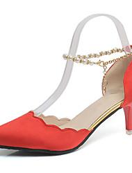 preiswerte -Damen Schuhe Kaschmir Frühling Komfort High Heels Walking Stöckelabsatz Spitze Zehe Perle für Kleid Rot / Grün / Rosa