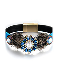 cheap -Lureme Bohemian Blue Flower with Pearl PU Leather Magnetic Bracelet Bangle for Women