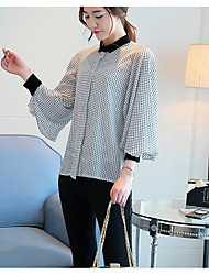Women's Party Casual/Daily Simple Summer Blouse,Check Peter Pan Collar Long Sleeve Cotton