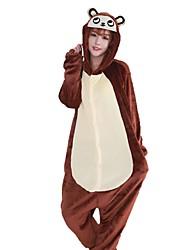 cheap -Kigurumi Pajamas Monkey Onesie Pajamas Costume Flannel Fabric Brown Cosplay For Adults' Animal Sleepwear Cartoon Halloween Festival /
