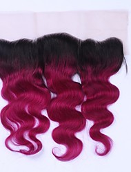 Beata Hair Non-remy Ombre Burgundy Brazilian Body Wave Human Hair Lace Frontal 12 to 16 Two Tone 1b/99j 4x4 Swiss Lace Closure