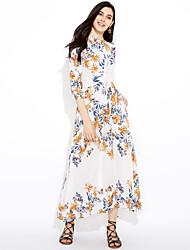 baratos -Mulheres Moda de Rua Reto Bainha Rendas Vestido Floral Acima do Joelho