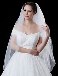 cheap -Two-tier Lace Applique Edge Wedding Veil Blusher Veils With Applique Sequin Embroidery Lace Tulle