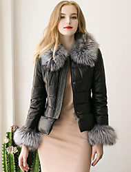 Women's Going out Casual/Daily Simple Fall Winter Fur Coat,Solid Stand Long Sleeve Regular Faux Fur PU