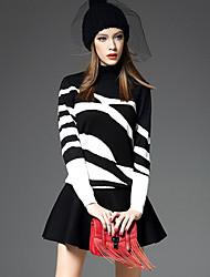 abordables -Mujer Estampado de Cebra Diario Noche Casual Chic de Calle Sofisticado Falda Regular, Cuello Alto Invierno Otoño Manga Larga