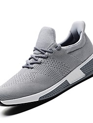 Men's Athletic Shoes Running Light Soles Knit Fall Winter Athletic Casual Outdoor Low Heel Gray Black 1in-1 3/4in