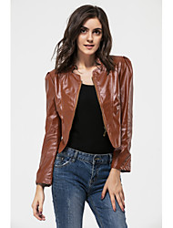 cheap -YUNTUO® Women's Fashion PU Leather Jackets Going Out Solid Brown
