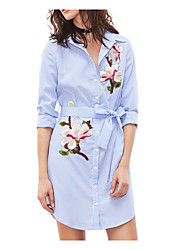 cheap -Women's Chinoiserie Polyester Shirt - Striped Shirt Collar