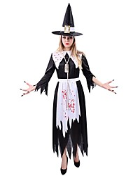 cheap -Witch Cosplay One Piece Dress Female Unisex Halloween Carnival Festival / Holiday Halloween Costumes Black Vintage