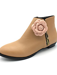 cheap -Women's Boots Fashion Boots Bootie Fall Winter Leatherette Party & Evening Dress Flower Low Heel Almond Black Under 1in