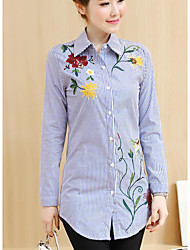 cheap -Women's Daily Casual Shirt,Print Shirt Collar Long Sleeves Cotton