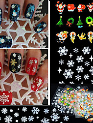 24pcs Christmas Nail Art Stickers Decals Snowflakes Snowman
