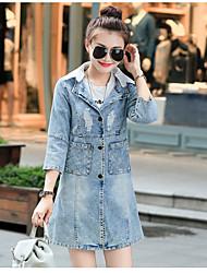 baratos -Mulheres Jaqueta jeans Sólido, Algodão Colarinho de Camisa