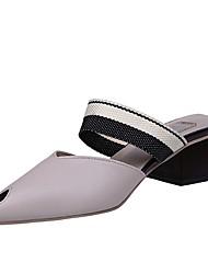 Women's Slippers & Flip-Flops Comfort Summer PU Dress Block Heel Gray Beige 2in-2 3/4in