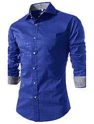 cheap -Men's Party Work Casual Spring Fall Shirt,Houndstooth Shirt Collar Long Sleeves Polyester Medium