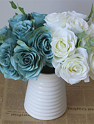 Plastic Roses Hydrangeas Tabletop Flower Artificial Flowers Home Decoration Wedding Supplies Bridal Bouquet 10 Branches