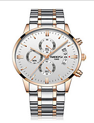 cheap -Men's Sport Watch Japanese Calendar / date / day / Water Resistant / Water Proof / Creative Stainless Steel Band Charm / Luxury / Casual Black / Silver / Gold / Large Dial