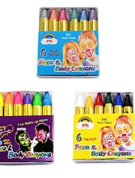 OPHIR Body Paint Crayons Rugular Pearl Neon FluorescentMaquiagem Makeup Kids Face Paint Pigment UV Glow Painting 6 Colour/Set(3 pack)