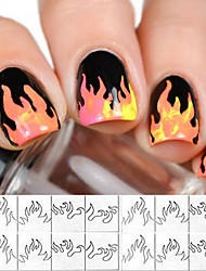 cheap -1 PCS New Style French Smile Sticker Nail Polish  Flame Pattern Template Nail Art Sticker