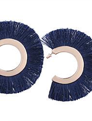Bohemia Oversized Women  Fan-shaped  Fabric Tassel Drop Earrings
