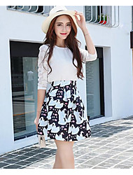 cheap -Women's Daily Casual Summer T-shirt Skirt Suits,Animal Print Round Neck ¾ Sleeve Polyester