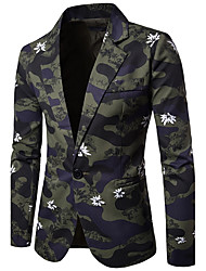 cheap -Men's Work Simple Casual Fall Blazer,Print Peaked Lapel Long Sleeve Regular Cotton