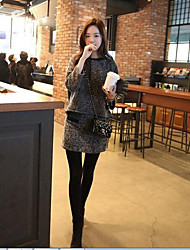 Women's Casual/Daily Simple Spring Fall Hoodie Skirt Suits,Solid Crew Neck ¾ Sleeve