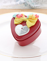 10 Favor Holder-Heart-shaped Nonwoven Fabric Satin Metal Favor Boxes Candy Jars and Bottles