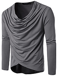 cheap -Men's Daily Going out Casual Fall T-shirt,Solid V Neck Long Sleeves Cotton