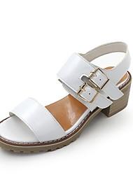 Damen Sandalen Pumps PU Frühling Sommer Kleid Party & Festivität Schnalle Blockabsatz Weiß Mandelfarben 5 - 7 cm