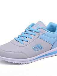 cheap -Women's Shoes Leatherette Spring / Fall Comfort Athletic Shoes Walking Shoes Platform Round Toe Lace-up Black / Gray / Blue