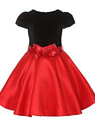 abordables -Robe Fille de Mosaïque Coton Polyester Eté Manches Courtes Fleur Rouge
