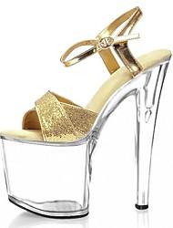 abordables -Mujer Zapatos Brillantina Verano Zapatos formales Sandalias Tacón Stiletto Punta abierta Purpurina / Hebilla Dorado / Plata