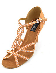 "Women's Latin Silk Sandals Performance Crystals/Rhinestones Stiletto Heel Brown Black 3"" - 3 3/4"" Customizable"