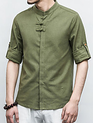 7 Colors Plus Size S-6XL Men's Going out Casual/Daily Vintage Simple Spring Summer ShirtSolid Stand 3/4 Length Sleeve Linen Thin