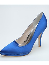 cheap -Women's Wedding Shoes Formal Shoes Satin Spring Summer Wedding Party & Evening Stiletto Heel Ivory Blue Black 4in-4 3/4in