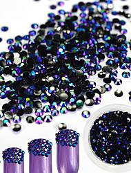 1Bottle 2mm Fashionable Laser Resin Jelly Rhinestone Nail Art Black-Purple Glitter Rhinestone Nail DIY Beauty Jewelry Shining Decoration
